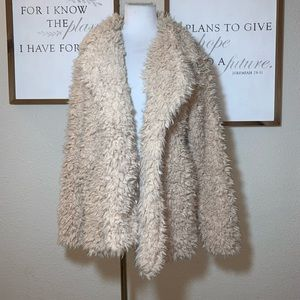 thread+supply open front fauxfur lined coat Jacket